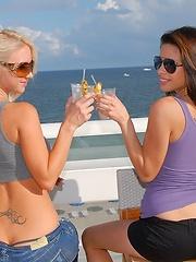 2 amazing hot teen lesbian bikini babes get down at the beach then dildo fuck hard in these orgasm fucking pics