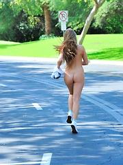 Kiera goes for a jog naked