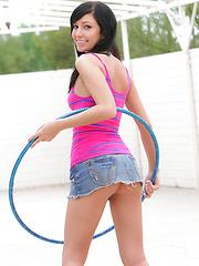 Cheeky Catie Minx works a hula hoop like she works a cock - with enthusiasm!