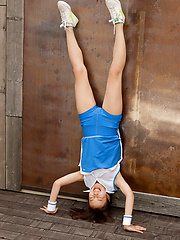 Kana Yuuki Asian shows flexibility while playing with tennis ball