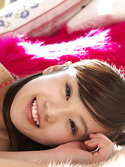 Kana Yuuki Asian in tiny bath suit is playful in and out of house