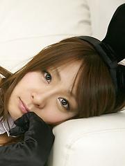 Yuki Aikawa Asian with fishnet stockings and ears is hot bunny