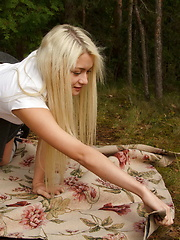 Lovely blonde teen gets her holes banged outdoors