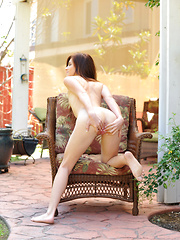 Gorgeous Emma Stoned goes outside to tease her throbbing wet fuck hole