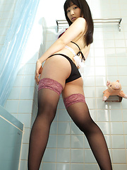 Kotone Moriyama Asian in stockings and apron is ready for shower