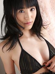 Yuri Hamada Asian spreads legs and shows slit in black bikini