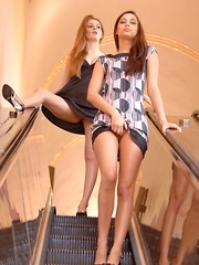 Larysa and Faye get kinky in a public building