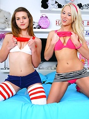 Check out 2 smoking hot young teens share a hard cock in these amazing 3some fuck pics