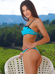 Against a picturesque background of rolling mountains, blue skies, and lush vineyard, Candice Luka showcases her gorgeous in a variety of wide open, explicit poses that will take your breath away.