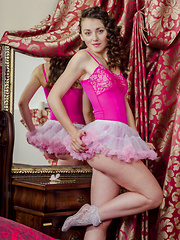 Curly haired beautiful ballerina makes art of her shapely body with all the lust you could possibly handle.