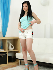 Beautiful girl next door Iris Von stips off her clothes to get naughty