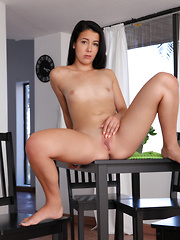 Tiny tit brunette plays with her fresh shaved pussy