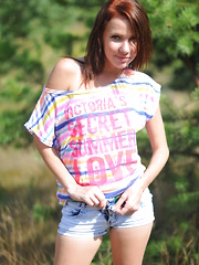 Hot brunette gets wild and free on the lap of nature, where she shows off perfect breasts and over the top feminine qualities.