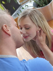 Flirty blonde teen gets her cunt creamed and then eats sperm