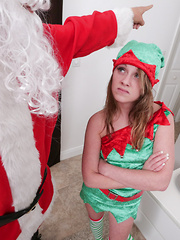 Petite, blonde, tight ass Lizzie Bell went to Santa saying she needed a day off, so it was only right Santa showed her who was really the boss destroying that ass, and making sure she learned her lesson to never complain.