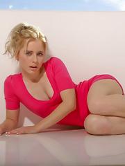 Stunning sweet Kara Duhe in her alluring, pink dress flashing her lovely, small titties