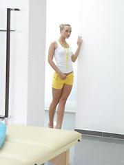 Beautiful blonde teen massaged and fucked