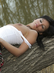 The gorgeous Destiny Moody's nubile young body chilled to perfection in this outdoors gallery