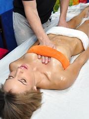 Natasha seduced and fucked hard by her massage therapist