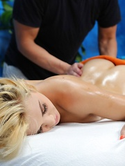 Sexy blonde Courtney is seduced and fucked hard by her massage therapist
