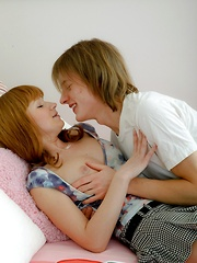Teenage cutie likes taking his big cock in her damp cunt