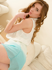 Sweet brunette lays her soft skin down in her bed to embrace all the irresistible feminine qualities she had hidden.