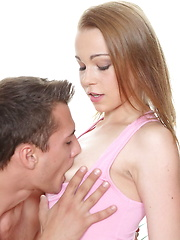 Teen wraps her lips around the big dick and then gets laid