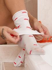 Dominika Sand strips naked in bathroom before bath