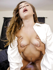Teen coed Kharlie Stone is caught masturbating by her boyfriend so she invites him to join her for a raunchy fuck fest