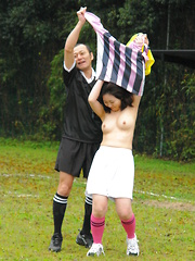 Hot soccer girl gets banged by two young guys